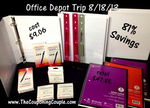 Office Depot Shopping trip on 8-18