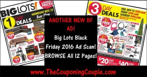 Big Lots Black Friday 2016 Ad ~ BROWSE All 12 Pages!