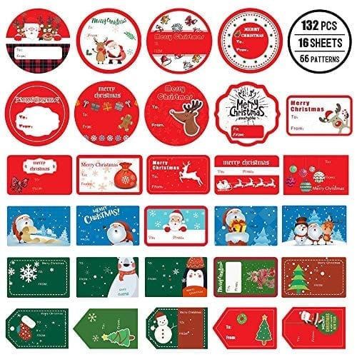 Christmas Gift Tag Stickers 132 PCS $6.49 Prime Black Fri Deal