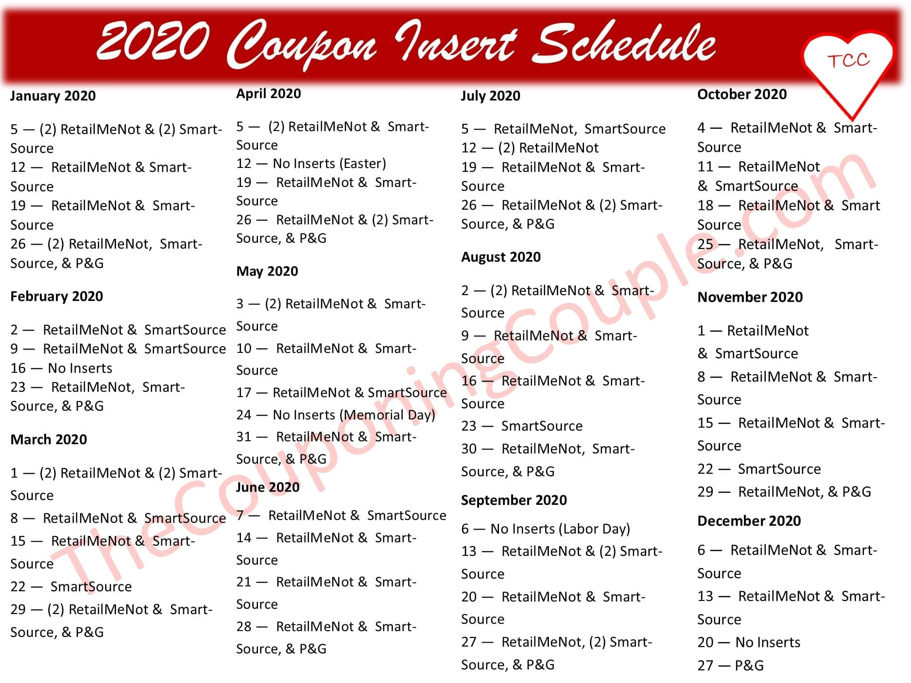 Coupon Insert Schedule 2020